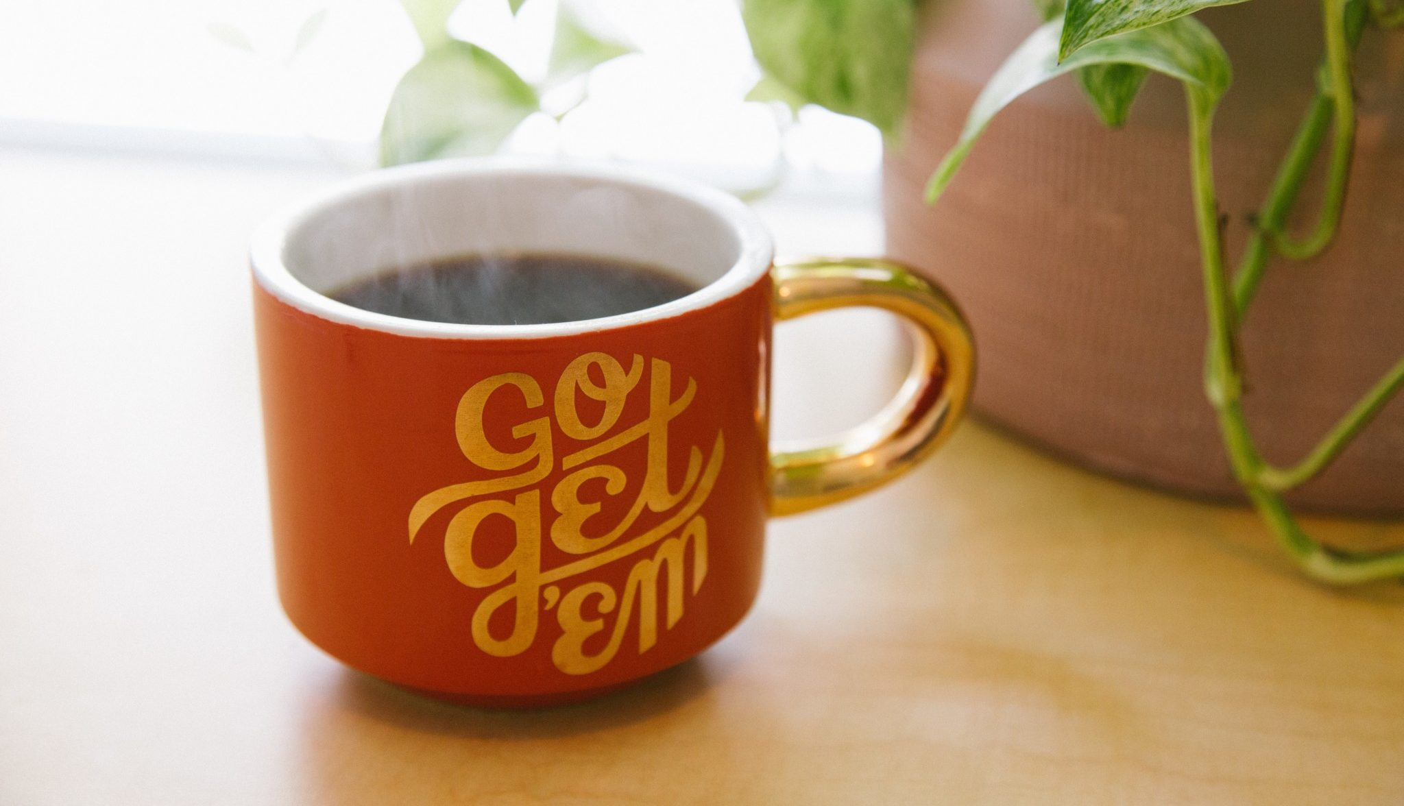 "Steaming cup of coffee in a red mug with encouraging message ""go get em"" next to a green plant."